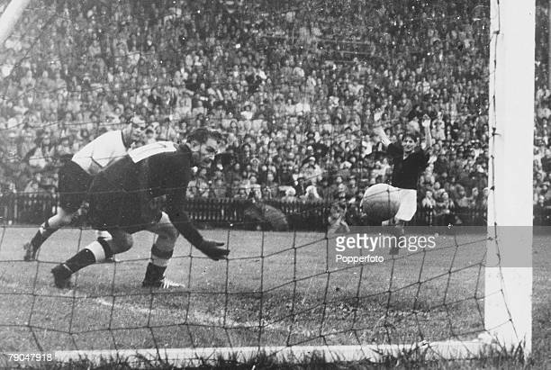 World Cup Final Berne Switzerland 4th July West Germany 3 v Hungary 2 West Germany's goalkeeper Turek watches as Hungary score a goal in the World...