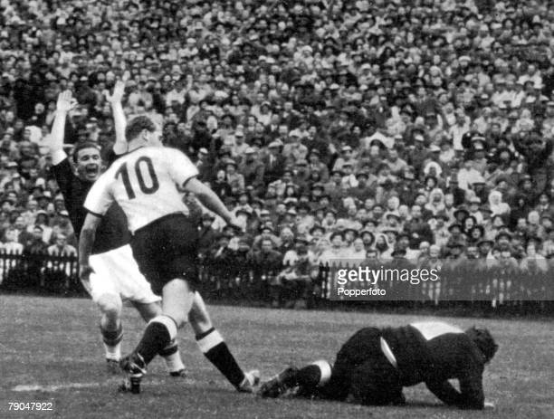 World Cup Final Berne Switzerland 4th July West Germany 3 v Hungary 2 Hungary's captain Ferenc Puskas celebrates after he scored his team's first...