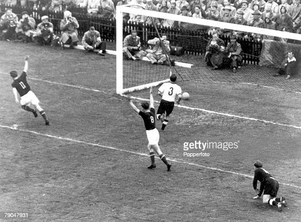 World Cup Final Berne Switzerland 4th July West Germany 3 v Hungary 2 Hungary's Czibor and Kocsis celebrate after Czibor scored his sides' second...