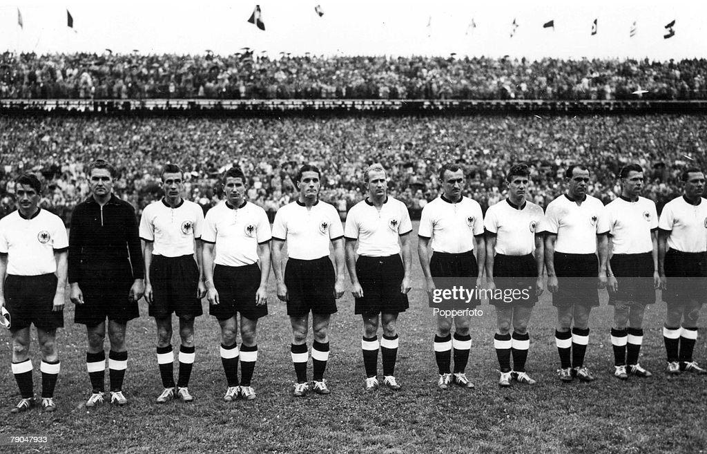 World Cup Final, 1954, Berne, Switzerland, 4th July, 1954, West Germany 3 v Hungary 2, The West German team line up before the match, they are (L-R) F, Walter, Turek, Eckel, Rahn, O, Walter, Liebrich, Posipal, Schaefer, Kohlmeyer and Morlock