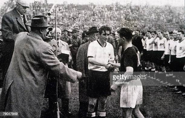 World Cup Final Berne Switzerland 4th July West Germany 3 v Hungary 2 West German captain Fritz Walter receives congratulations from Hungarian...