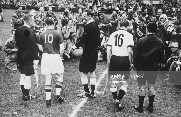 World Cup Final Berne Switzerland 4th July West Germany 3 v Hungary 2 Hungarian captain Ferenc Puskas and West German captain Fritz Walter face...