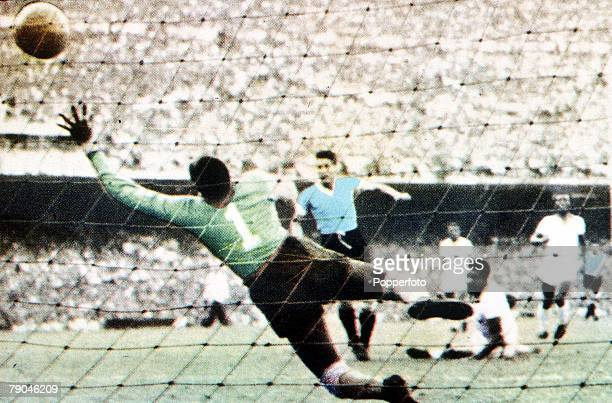 World Cup Final Brazil Maracana Stadium Rio De Jainero Brazil 1 v Uruguay 2 16th July Juan Schiaffino scores Uruguay's first goal past Brazilian...