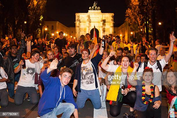 German soccer fans in Munich Germany flocking to the streets to celebrate the German victory