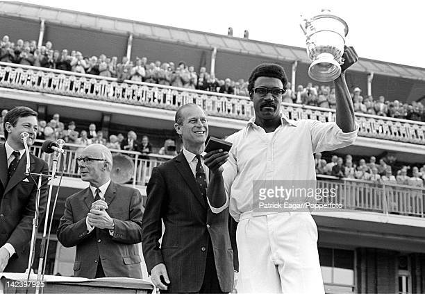 World Cup Final Lord's 1975 HRH Prince Philip with Clive Lloyd captain of the winning West Indian team Also in pic Jack Bailey 6096326