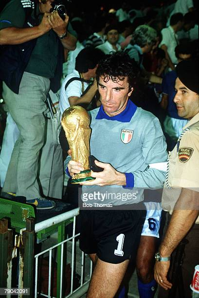 World Cup Final Madrid Spain 11th July Italy 3 v West Germany 1 Italy's Dino Zoff carries the World Cup trophy after the presentation