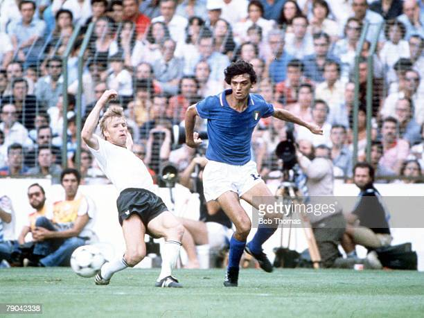 World Cup Final Madrid Spain 11th July Italy 3 v West Germany 1 Italy's Alessandro Altobelli is tackled by West Germany's Bernd Foerster