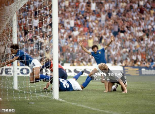 World Cup Final, Madrid, Spain, 11th July Italy 3 v West Germany 1, Italy's Paolo Rossi lies on the ground having scored the opening goal in the...