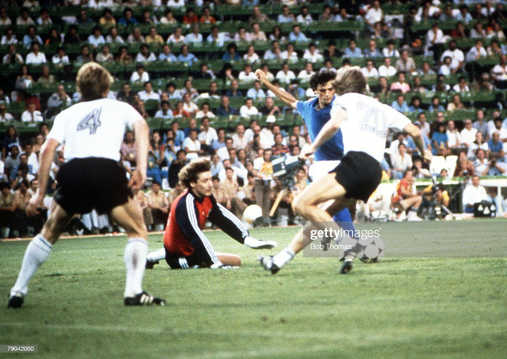 1982 World Cup Final. Madrid, Spain. 11th July, 1982. Italy 3 v West Germany 1. Italy's Alessandro Altobelli scores the third goal past West German goalkeeper Harald Schumacher. : News Photo