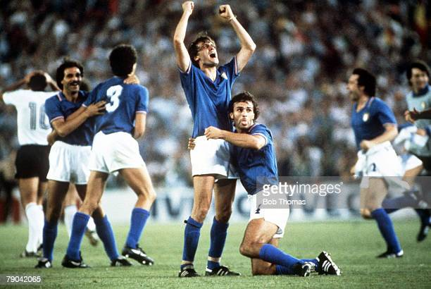 World Cup Final Madrid Spain 11th July Italy 3 v West Germany 1 Italy's Marco Tardelli and Antonio Cabrini celebrate victory at the end