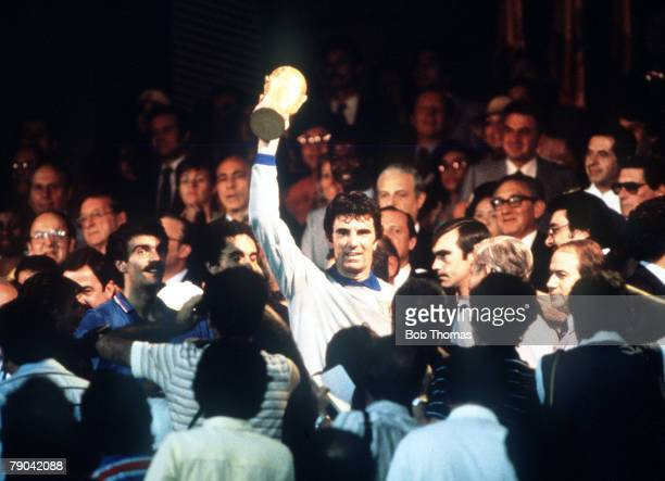 World Cup Final Madrid Spain 11th July Italy 3 v West Germany 1 Italy's captain Dino Zoff proudly holds aloft the World Cup trophy after his team's...