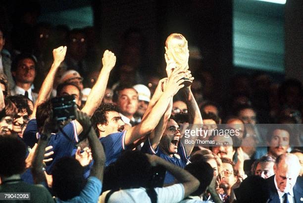 World Cup Final Madrid Spain 11th July Italy 3 v West Germany 1 Italy's Claudio Gentile and Giuseppe Bergomi proudly hold aloft the World Cup trophy...