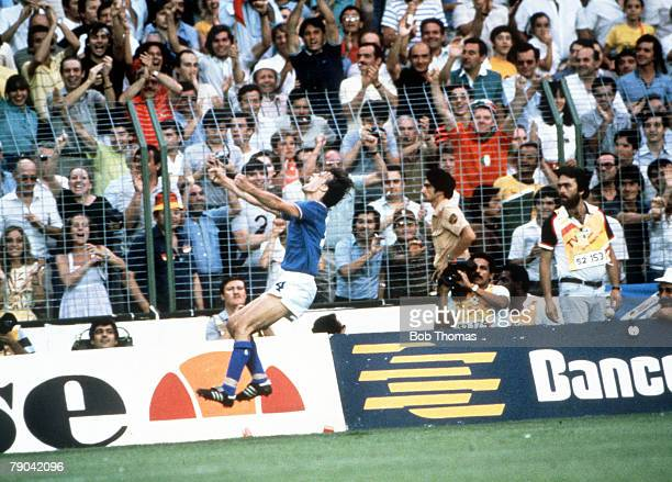 World Cup Final Madrid Spain 11th July Italy 3 v West Germany 1 Italy's Marco Tardelli celebrates after scoring the second goal