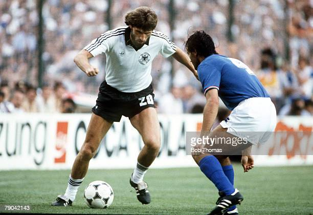 World Cup Final Madrid Spain 11th July Italy 3 v West Germany 1 Italy's Antonio Cabrini moves in to challenge West Germany's Manny Kaltz