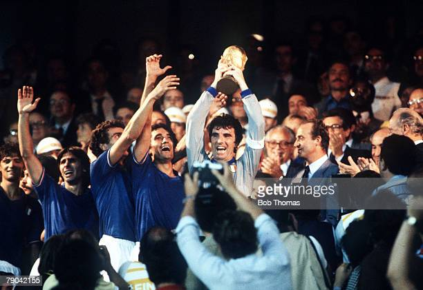 World Cup Final Madrid Spain 11th July Italy 3 v West Germany 1 Italian captain Dino Zoff holds aloft the World Cup trophy after receiving from King...