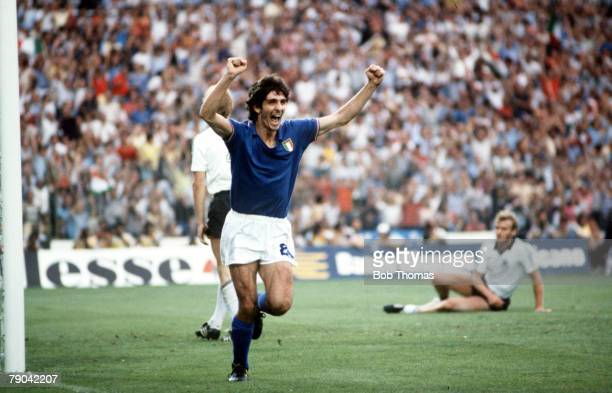 World Cup Final Madrid Spain 11th July Italy 3 v West Germany 1 Italy's Paolo Rossi celebrates after scoring the opening goal in the World Cup Final