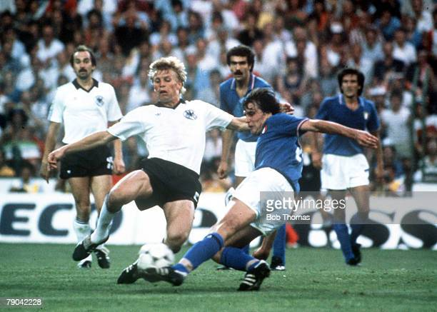 World Cup Final Madrid Spain 11th July Italy 3 v West Germany 1 Italy's Marco Tardelli scores the second goal for Italy