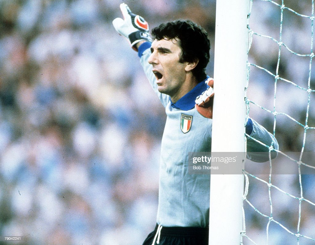 1982 World Cup Final. Madrid, Spain. 11th July, 1982. Italy 3 v West Germany 1. Italian goalkeeper Dino Zoff shouts instructions to his defenders. : News Photo