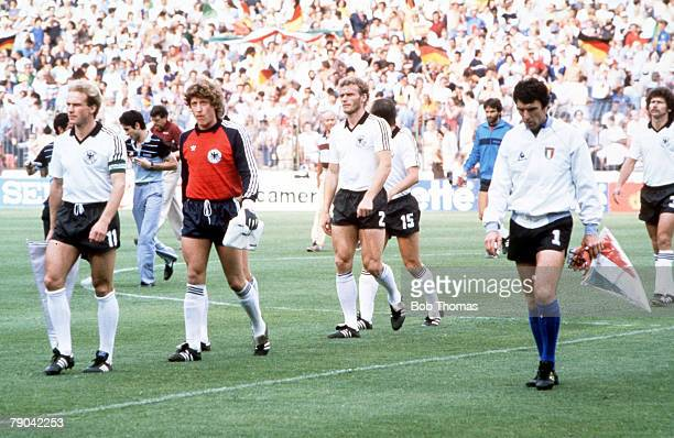 World Cup Final Madrid Spain 11th July Italy 3 v West Germany 1 Captains KarlHeinz Rummenigge and Dino Zoff lead out the two teams before the match