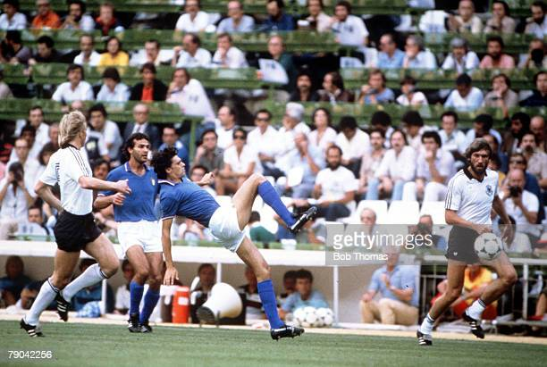 World Cup Final Madrid Spain 11th July Italy 3 v West Germany 1 Italy's Alessandro Altobelli clears the ball from West Germany's Bernd Foerster as...