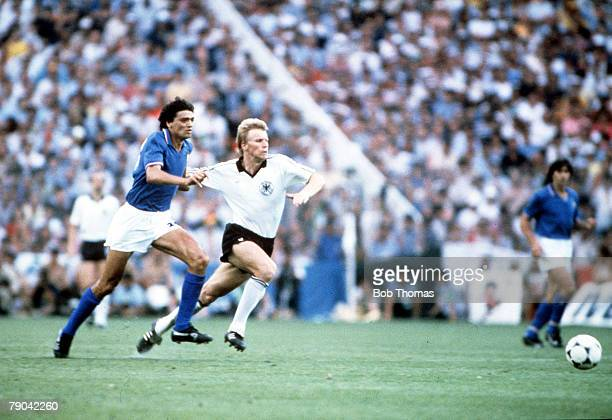 World Cup Final Madrid Spain 11th July Italy 3 v West Germany 1 Italy's Alessandro Altobelli races for the ball with West Germany's Bernd Foerster