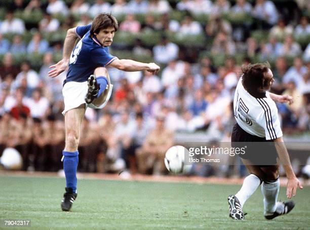 World Cup Final Madrid Spain 11th July Italy 3 v West Germany 1 Italy's Gabriele Oriali fires in a shot past West Germany's Uli Stielike