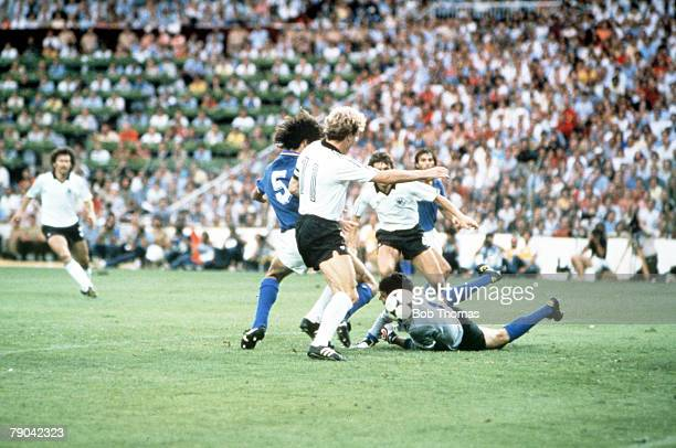 World Cup Final Madrid Spain 11th July Italy 3 v West Germany 1 Italian goalkeeper Dino Zoff and defender Fulvio Collovati combine to foil West...