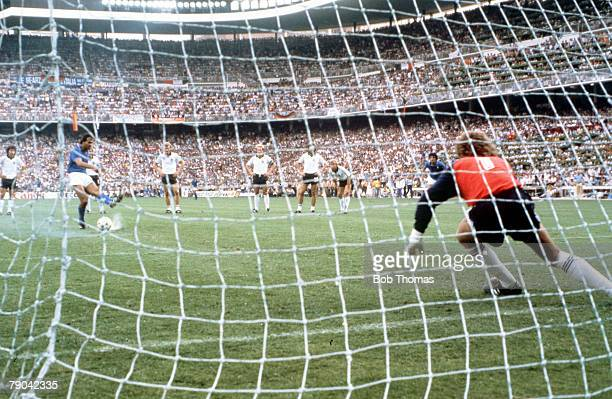 World Cup Final Madrid Spain 11th July Italy 3 v West Germany 1 Italy's Antonio Cabrini shoots his penalty wide of the goal as West German goalkeeper...