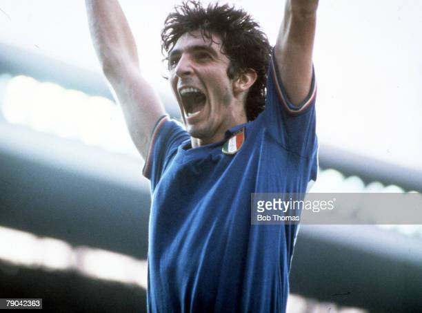 World Cup Final Madrid Spain 11th July Italy 3 v West Germany 1 Italy's Paolo Rossi celebrates after scoring the first goal