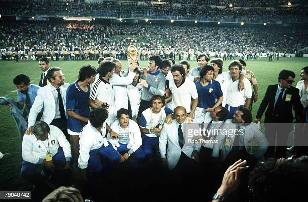 World Cup Final Madrid Spain 11th July Italy 3 v West Germany 1 The victorious Italian team pose for a team group with the trophy at the end