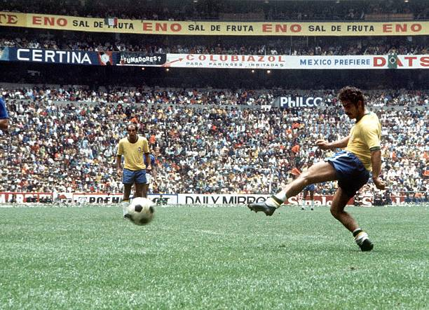 World Cup Final, Mexico City, Mexico, 21st June Brazil 4 v Italy 1, Brazil's Rivelino takes a shot at the Italian goal during the match