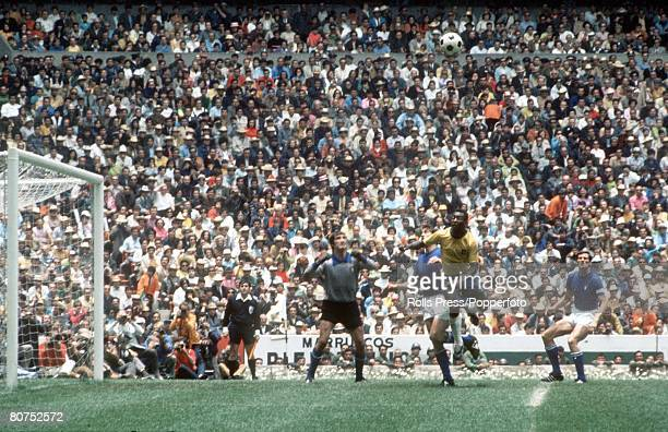 World Cup Final Mexico City Mexico 21st June Brazil 4 v Italy 1 Brazil's Pele jumps in the air for a high ball as Italian goalkeeper Enrico Albertosi...