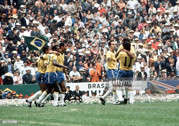 World Cup Final Mexico City Mexico 21st June Brazil 4 v Italy 1 Brazilians Jairzinho Pele Carlos Alberto Tostao Gerson and Rivelino celebrate after...