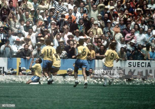 World Cup Final Mexico City Mexico 21st June Brazil 4 v Italy 1 Brazil's Jairzinho celebrates scoring his country's third goal with teammates LR...