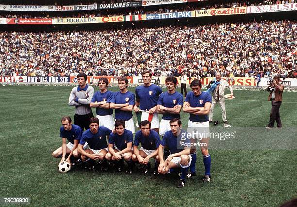 World Cup Final Mexico City Mexico 21st June Brazil 4 v Italy 1 The Italian team pose for a goup photograph before the match
