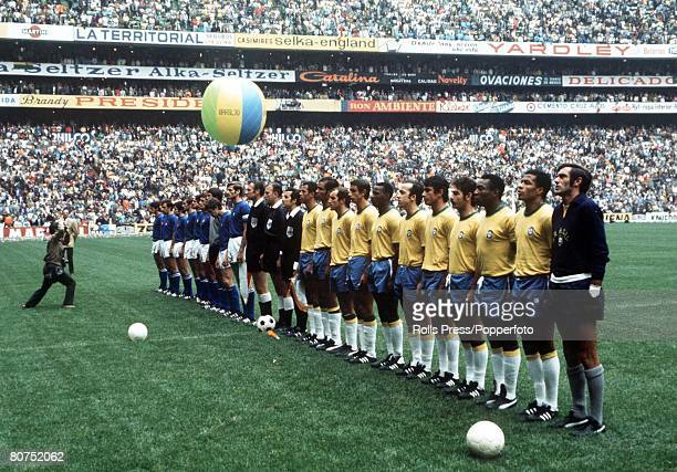 World Cup Final Mexico City Mexico 21st June Brazil 4 v Italy 1 The two teams line up before the match