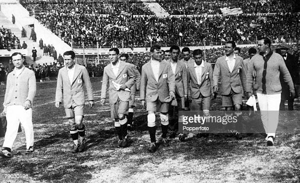 World Cup Final Montevideo Uruguay Uruguay 4 v Argentina 2 The Argentina team walk onto the field at the Centenary Stadium before the match
