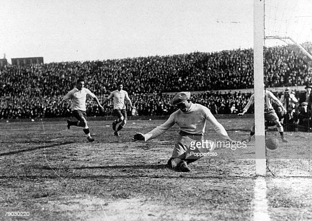 World Cup Final Montevideo Uruguay Uruguay 4 v Argentina 2 Uruguay's Pablo Dorado beats Argentina's goalkeeper Juan Botasso to score the first goal...