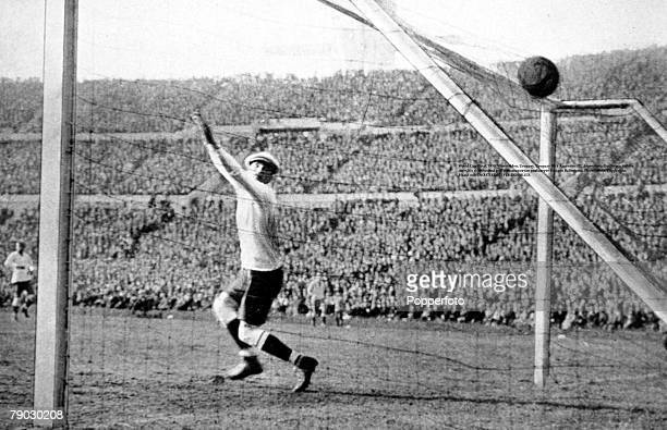 World Cup Final Montevideo Uruguay Uruguay v Argentina Argentina's Guillermo Stabile scores his sides second goal past Uruguayan goalkeeper Enrique...