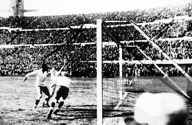 World Cup Final Montevideo Uruguay Uruguay v Argentina Argentina's Guillermo Stabile scores his sides second goal past uruguayan goalkeeper Enrique...