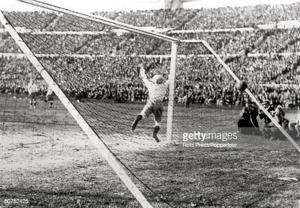 World cup Final Montevideo Uruguay Uruguay v Argentina Argentine goalkeeper Juan Botasso dives in vain in an attempt to stop Uruguay's third goal of...