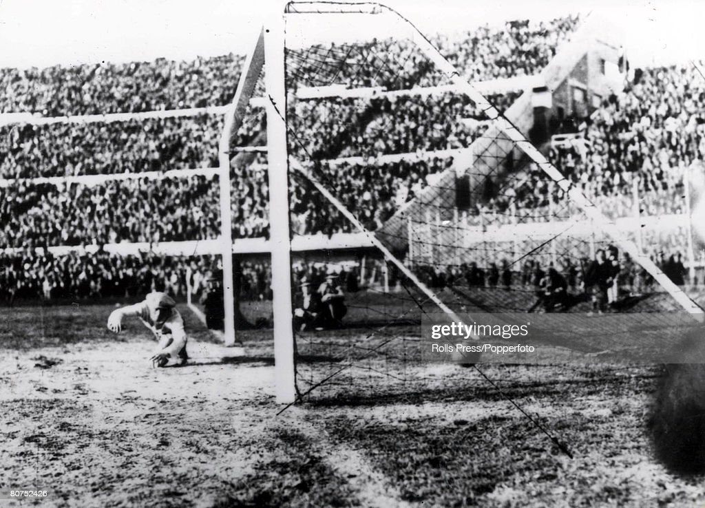 World cup Final, 1930, Montevideo, Uruguay, Uruguay (4) v Argentina (2), Argentine goalkeeper Juan Botasso dives in vain in an attempt to stop Uruguay scoring their second goal of the World Cup Final scored by Cea