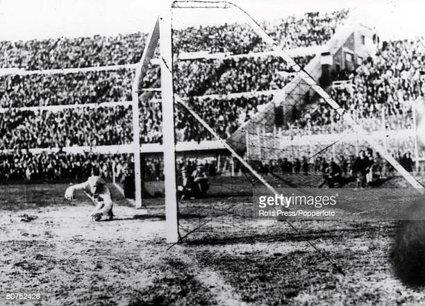 World cup Final Montevideo Uruguay Uruguay v Argentina Argentine goalkeeper Juan Botasso dives in vain in an attempt to stop Uruguay scoring their...