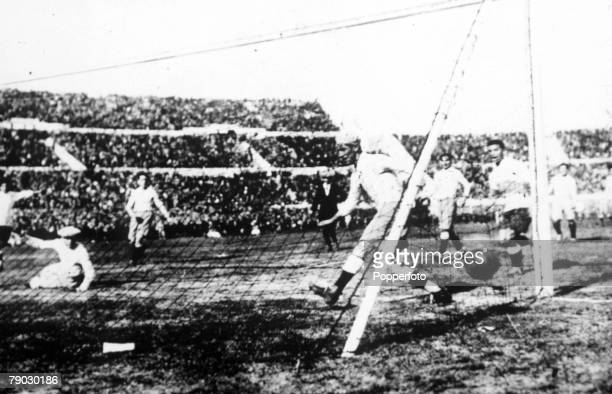 World cup Final Montevideo Uruguay Uruguay v Argentina The Argentine defence are beaten as Dorado of Uruguay scores the first goal after 12 minutes
