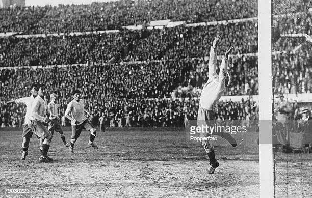 World cup Final Montevideo Uruguay Uruguay v Argentina Uruguayan striker Hector Castro scores his sides fourth goal past Argentine keeper Juan Botasso