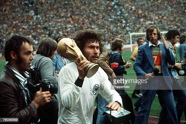 World Cup Final, Munich, West Germany, 7th July West Germany 2 v Holland 1, West Germany's Paul Breitner carries the trophy on a lap of honour at the...
