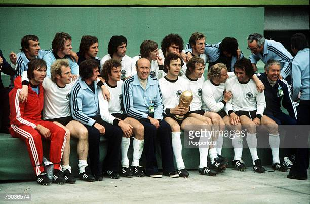 World Cup Final Munich West Germany 7th July West Germany 2 v Holland 1 World Champions West Germany including manager Helmut Schoen celebrate with...
