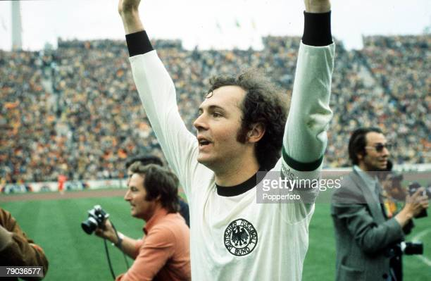 World Cup Final Munich West Germany 7th July West Germany 2 v Holland 1 West German captain Franz Beckenbauer raises his arms in celebration as they...