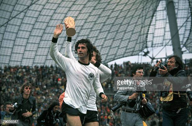 World Cup Final Munich West Germany 7th July West Germany 2 v Holland 1 West Germany's Gerd Muller scorer of the winning goal waves to the crowd as...