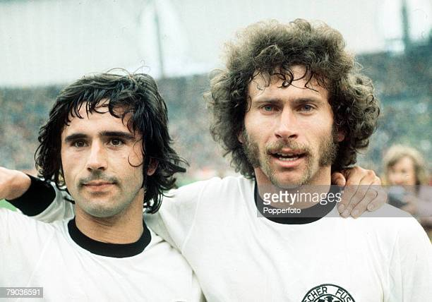 World Cup Final Munich West Germany 7th July West Germany 2 v Holland 1 West Germany's goalscorers Gerd Muller and Paul Breitner after the match